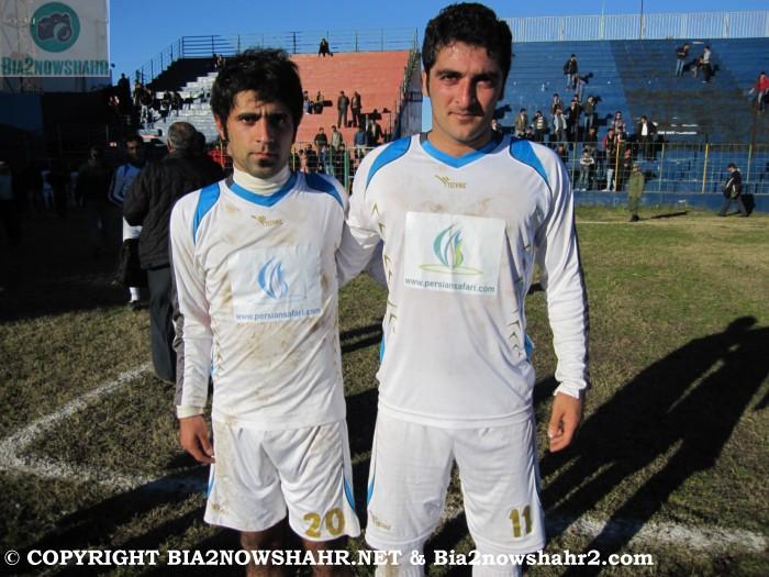 زننده دو گل دیدار بازیکنان تیم شهرداری نوشهر  از راست فرشید خزایی - فرزاد کاویانپور :